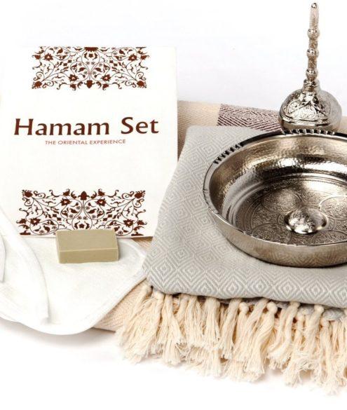 Hamam Set: 2x Kese Peeling-Handschuhe & Olivenseife