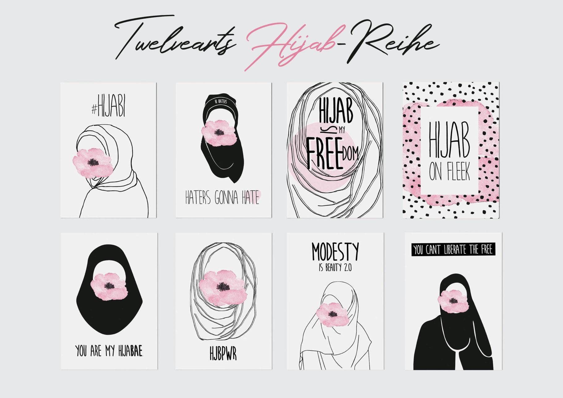 Hijab Postkarten Set: Muslimcards Reihe von Twelvearts